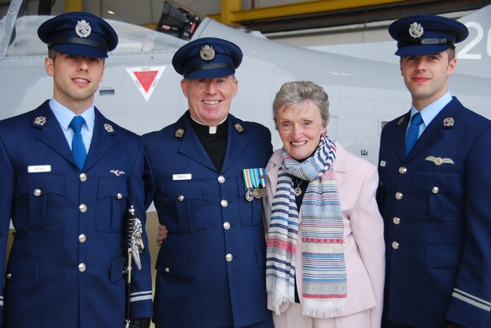 Lieutenants Frankie and Eugene Mohan with Air Corps Chaplain Fr Jerry Carroll and their grandmother Teresa Mohan from Carrickmacross.  Photo courtesy of Brian Mohan