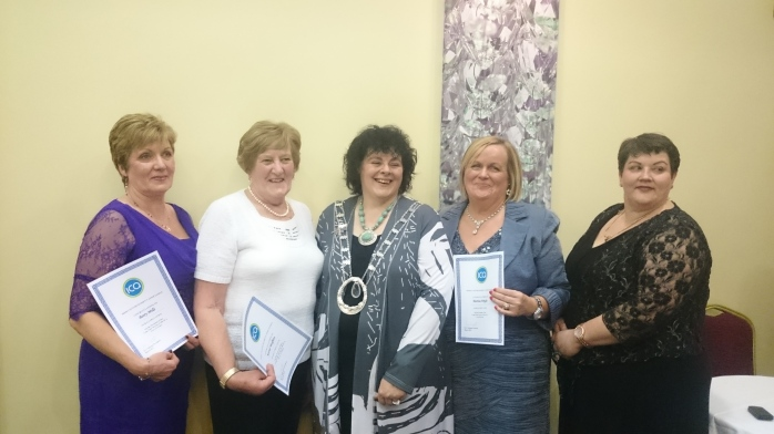 ICA President Liz Wall presents members of Ballybay Guild with their long service certificates  Photo:  © Michael Fisher