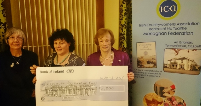 ICA Monaghan Federation President Patricia Cavanagh presents cheque to National President Liz Wall for €2800 for restoration of ICA College Termonfeckin  Photo:  © Michael Fisher