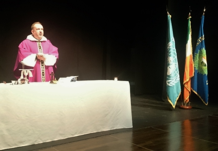 Army Chaplain Fr Bernard McKay Morrissey, CF Dundalk celebrated Mass at the Garage Theatre, Monaghan  Photo:  © Michael Fisher