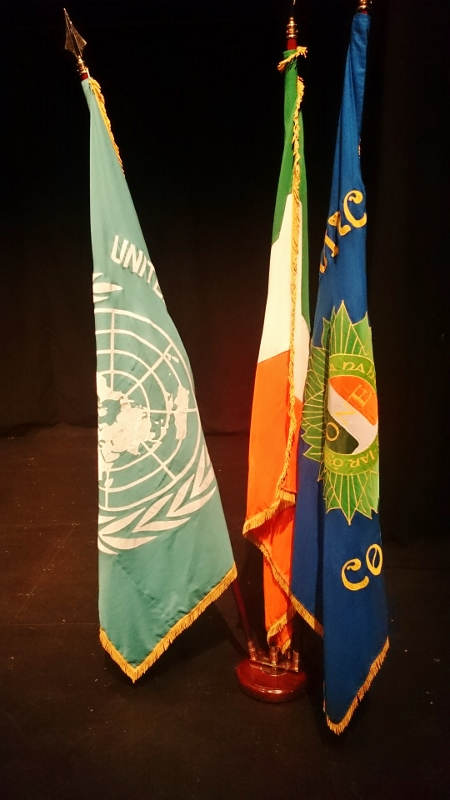 Flags on the stage during the Mass Photo:  © Michael Fisher