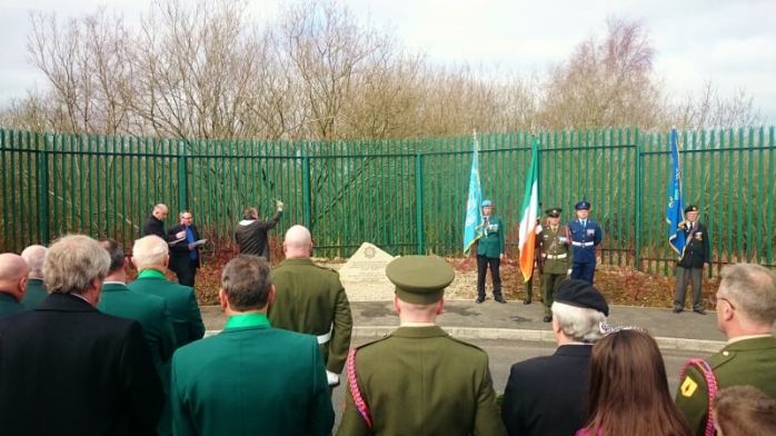 Blessing of commemorative stone by army chaplain Fr Bernard McKay Morrissey, CF Dundalk  Photo:  © Michael Fisher