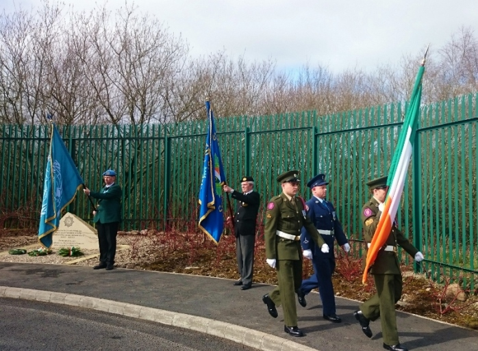 Colour party marches off at end of unveiling and blessing Photo:  © Michael Fisher