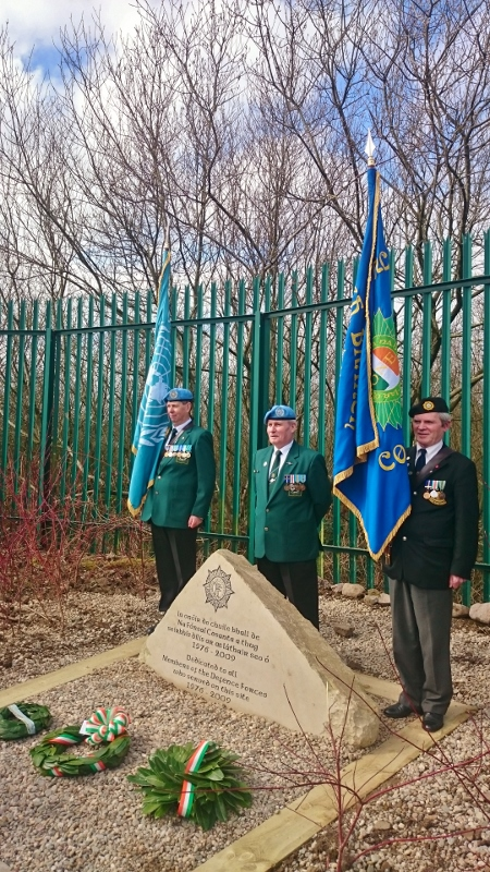 Former Sgt Dennis Barry (centre), Monaghan Barracks Association with colour party: Mick Donoghue IUNVA Post 15 Cavan (left) and Wally Barry ONE Tanagh Branch (right) Photo:  © Michael Fisher