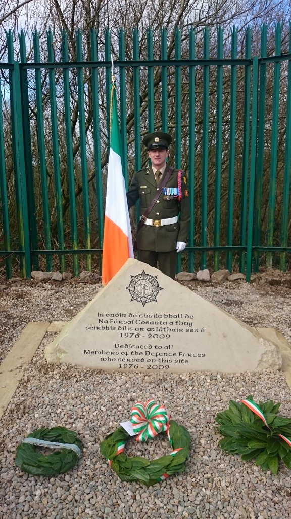 Commemorative stone for DF members who served in Monaghan Barracks 1976-2009, designed by Marc Kelly, Emyvale. Photo:  © Michael Fisher