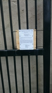 New Planning Notice on Shopping Centre Car Park Gate, Main Street Carrickmacross  Photo © Michael Fisher