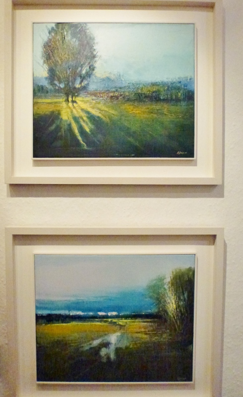 Two paintings by Kate Beagan: (top) 'A Shaft of Light' and 'A Wet Morning'  Photo:  © Michael Fisher