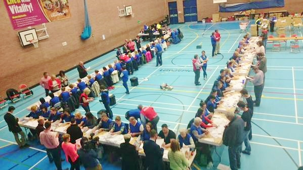 Counting begins for South Down at the Lisburn Leisureplex centre Photo:  © Michael Fisher