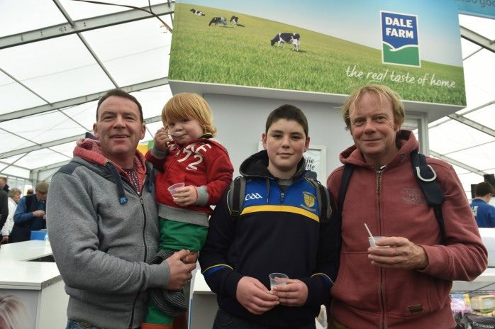 Patrick Corrigan, Jamie Corrigan, Luke Comiskey and Anthony Byrne from Monaghan town pictured at the Dale Farm stand at the recent Balmoral Show.