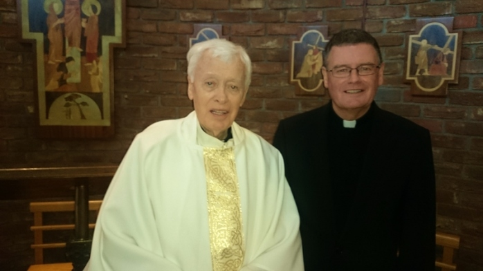 Canon Brian McCluskey  after Sunday Mass with Fr Eddie O'Donnell PP, St Brigid's Belfast Photo:  © Michael Fisher