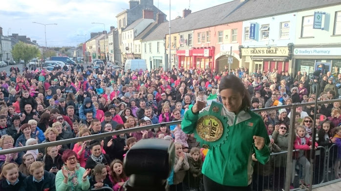 Big Crowd in Carrickmacross welcomes home Christina McMahon  Photo:  © Michael Fisher