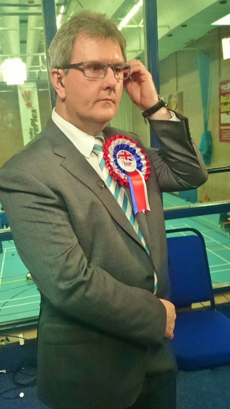 Jefrrey Donaldson prepares to gon on BBC TV after winning the Lagan Valley seat Photo:  © Michael Fisher