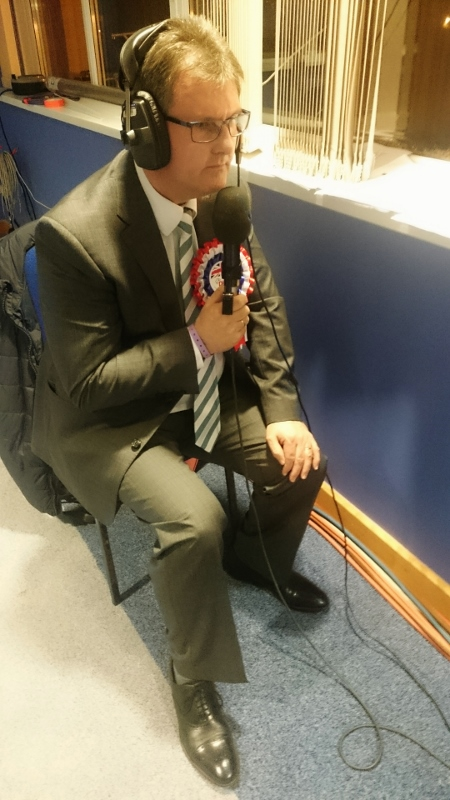 Jefrrey Donaldson prepares to go on RTE Radio after winning the Lagan Valley seat Photo:  © Michael Fisher