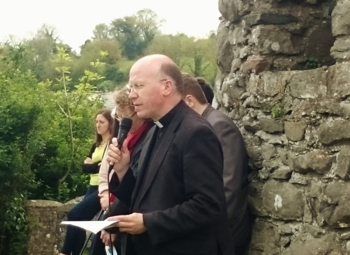 Fr Billy Swan CC, St Aidan's Enniscorthy, giving a talk on St Columbanus after the ecumenical service Photo:  © Michael Fisher