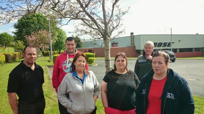 Six of the redundant workers at the Bose factory Carrickmacross  Photo: © Michael Fisher