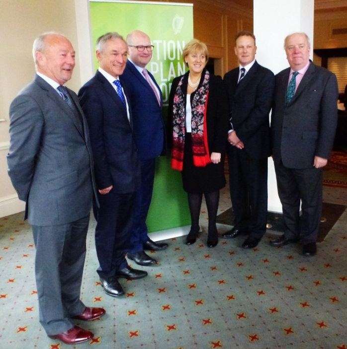 Three government Ministers, Richard Bruton and Ged Nash (Labour), with Heather Humphreys T.D. (centre), and two other Fine Gael Cavan/Monaghan TDs including Joe O'Reilly T.D. (right) attended the regional Action Plan for Jobs in Carrickmacross   Photo:  © Michael Fisher