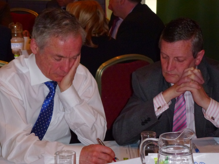 Jobs Minister Richard Bruton T.D. with Martin O'Briend CEO Cavan Monaghan ETB in one of the workshops at the Carrickmacross jobs forum Photo:  © Michael Fisher