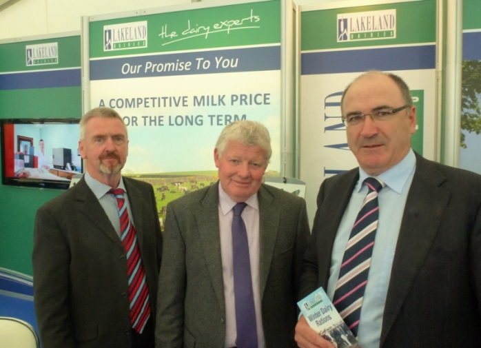 Lakeland Dairies Stand: Peter Finnegan, Killanny, (agricultural advisor NI), Chairman Alo Duffy, Ballybay, and Group Chief Executive Michael Hanley   Photo:  © Michael Fisher