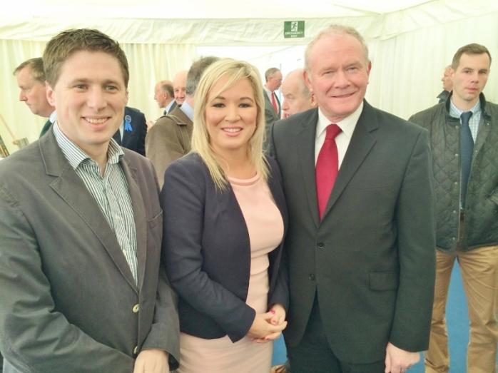 Sinn Féin MEP Matt Carthy with NI Agriculture Minister Michelle O'Neill MLA and deputy First Minister Martin McGuinness MLA