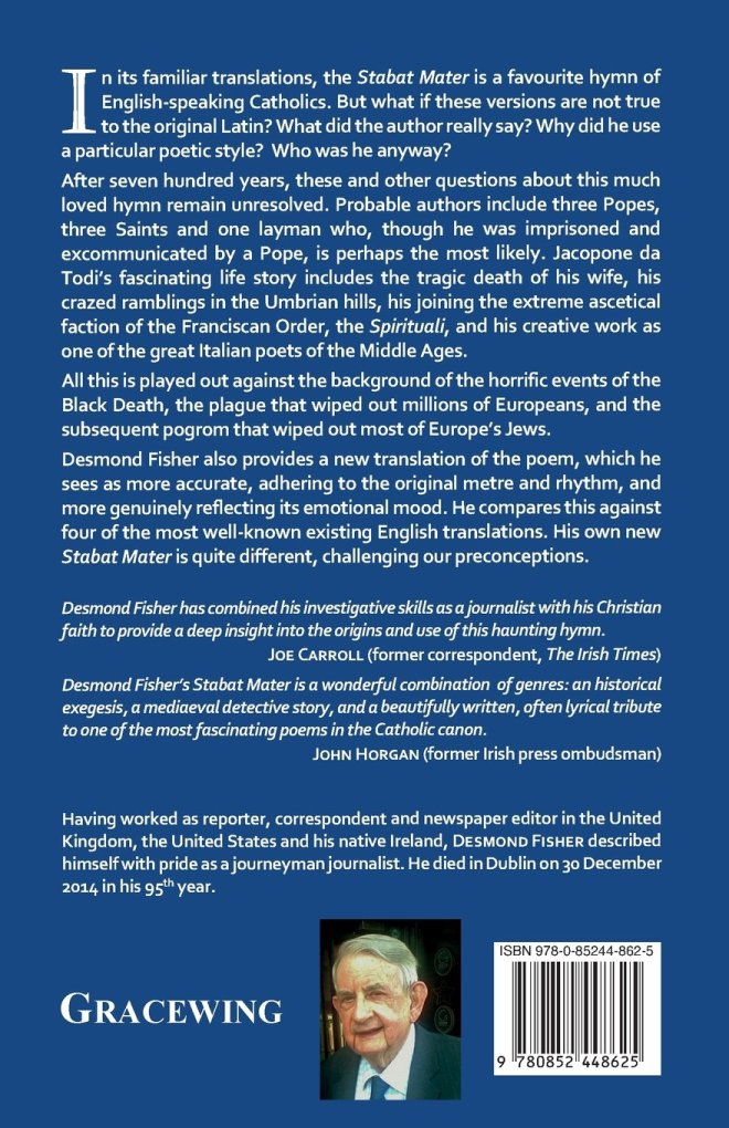 Stabat Mater Back Cover: with endorsements by John Horgan and Joe Carroll