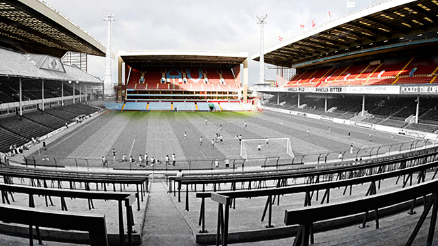 Villa Park then (1982) from the Holte End and now  Photo: AVFC