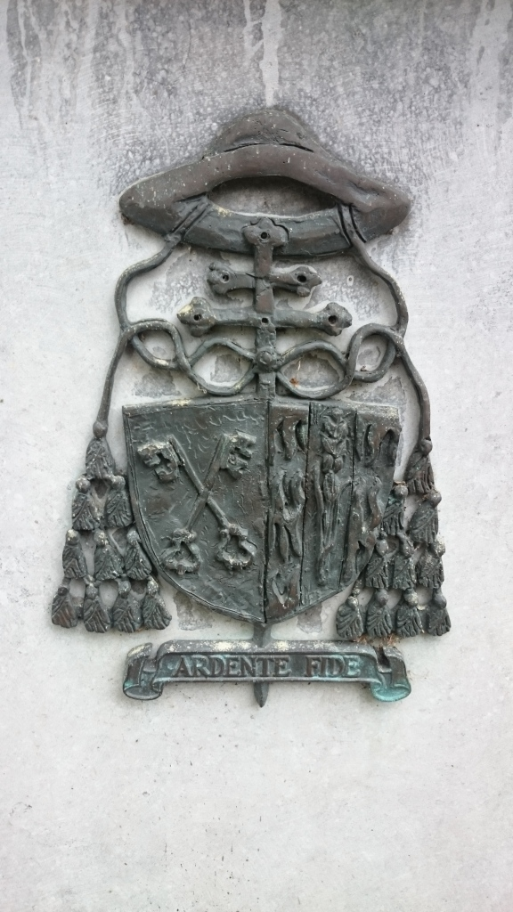 Coat of arms of Archbishop Dermot O'Hurley of Cashel on memorial in St Kevin's Park, Dublin Photo:  © Michael Fisher