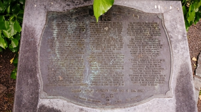 Memorial plaque with story of Archbishop Dermot O'Hurley in St Kevin's Park, Dublin Photo:  © Michael Fisher