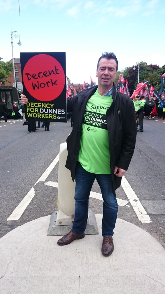 Mandate General Secretary and ICTU President John Douglas at the Dunnes Stores march and rally  Photo:  © Michael Fisher