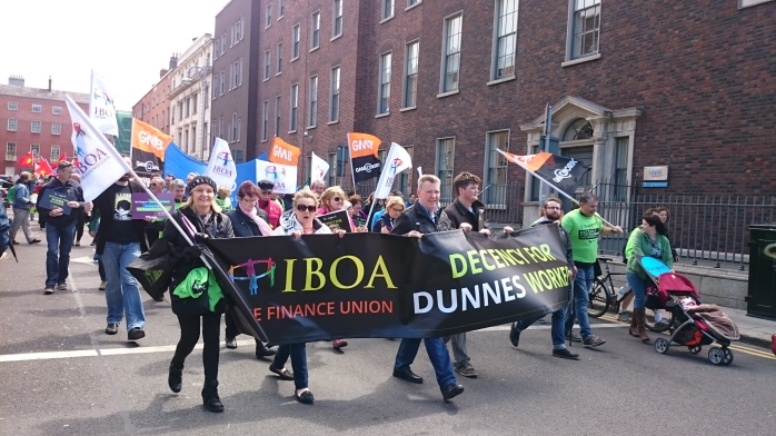 Larry Broderick (centre) led the IBOA presence at the march and rally Photo:  © Michael Fisher