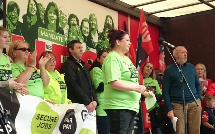 Dunnes Stores worker Muireann Dalton who addressed the rally Photo:  © Michael Fisher