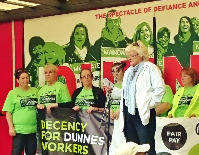 ICTU General Secretary Patricia King addressing the rally in support of Dunnes Stores workers Photo:  © Michael Fisher