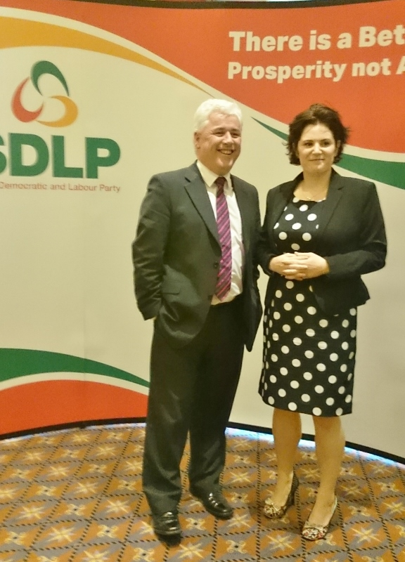Fearghal McKinney MLA with Claire Hanna  of the SDLP at the Assembly selection meeting in South Belfast  Photo:  © Michael Fisher