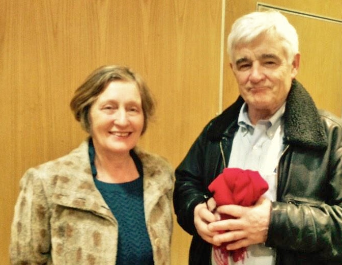 Geraldine Finucane with investigative journalist John Ware in Belfast