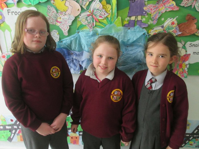 Texaco Children's Art Competition winners Kate Norton, Sophia Goodman and Grace Conlon from Scoil Naoimh ăanna, Killanny.