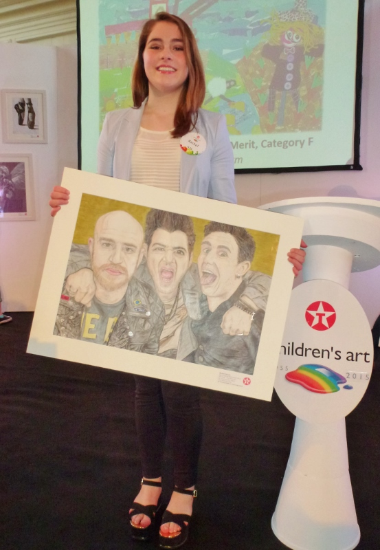 "Rachel McKenna, Scotstown, with her special award painting, ""The Script -- Tired of Posing"".  Photo:  © Michael Fisher"