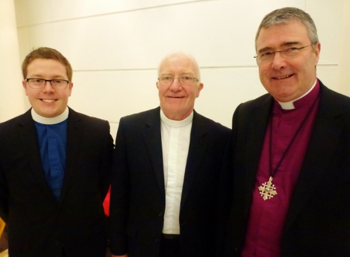 New Presbyterian Moderator Reverend Ian McNie (centre) with his son Reverend Stephen McNie, Monaghan (left) and Bishop of Clogher Rt Rev John McDowell (right)  Photo:  © Michael Fisher