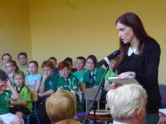 Tydavnet National Shool Principal Fiona Connolly at the start of the Green Flag celebrations  Photo:  © Michael Fisher