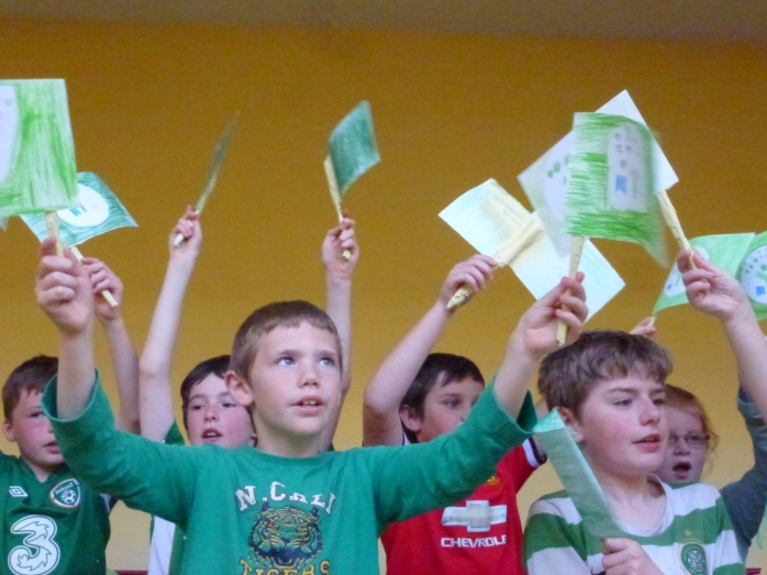 Pupils at Tydavnet National School celebrating the second Green Flag   Photo:  © Michael Fisher