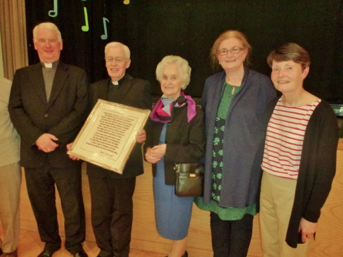 Monaghan group at the celebration: Bishop Noel Treanor, Tyholland; Canon Brian and his sister Maire McCluskey, Inniskeen; parishioners Evelyn Fisher (Tydavnet) and Marian McKay, whose mother was from Tydavnet. Photo:  © Michael Fisher