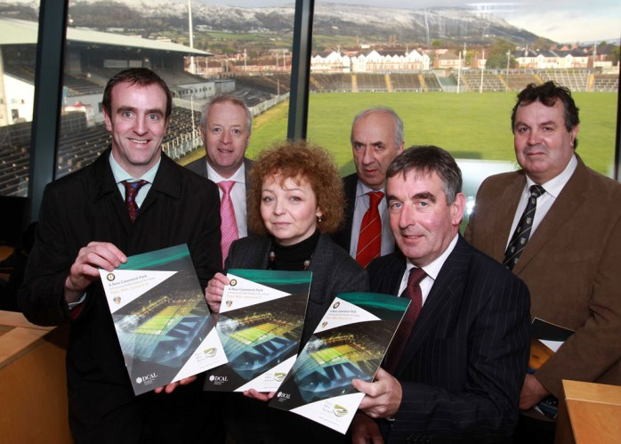 Casement Park Redevelopment Group including Ulster GAA Secretary Danny Murphy (back middle) with NI Sports Minister Carál Ní Chuilín and (right) Tom Daly, Chair of Stadium Project Board