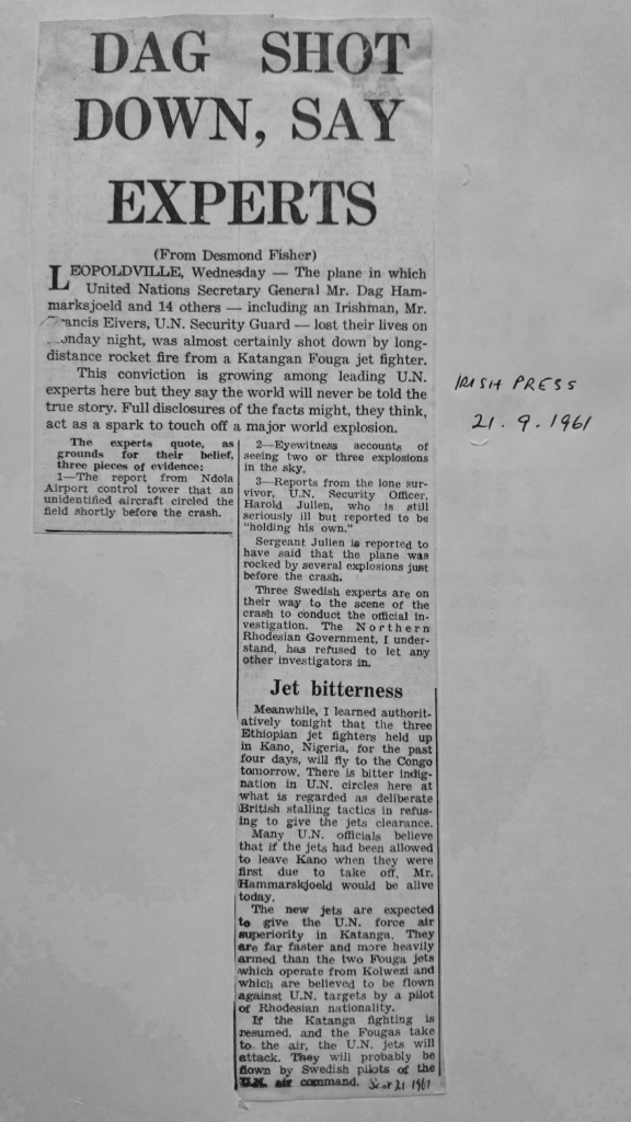 Desmond Fisher report in The Irish Press, 21st September 1961