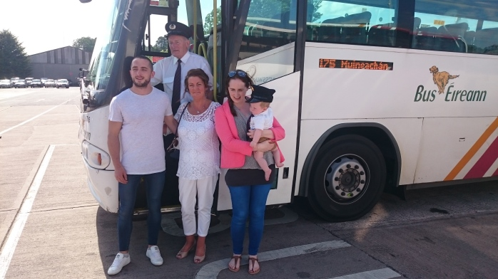 Paddy Gollogly is joined by his family including grandson Ryan for his last day at Monaghan bus depot  Photo:  © Michael Fisher