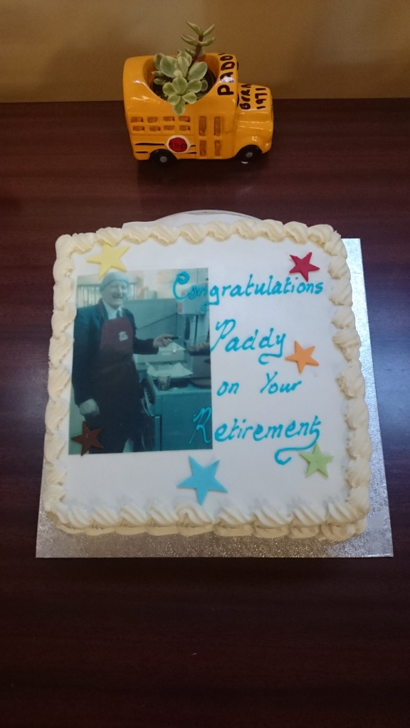 Special cake for Paddy Gollogly's retirement  Photo:  © Michael Fisher