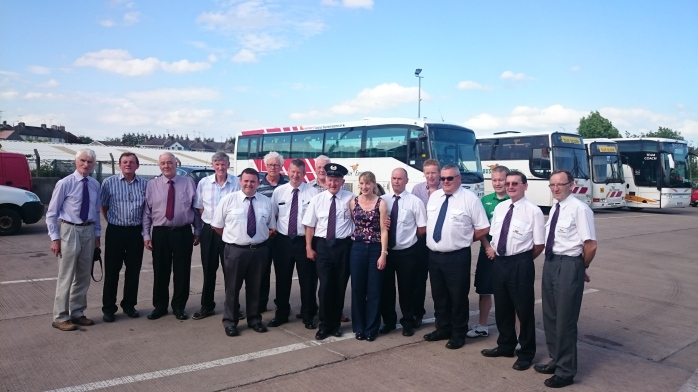 Drivers at Bus Éireann's Monaghan depot say farewell to Inspector Paddy Gollogly Photo:  © Michael Fisher