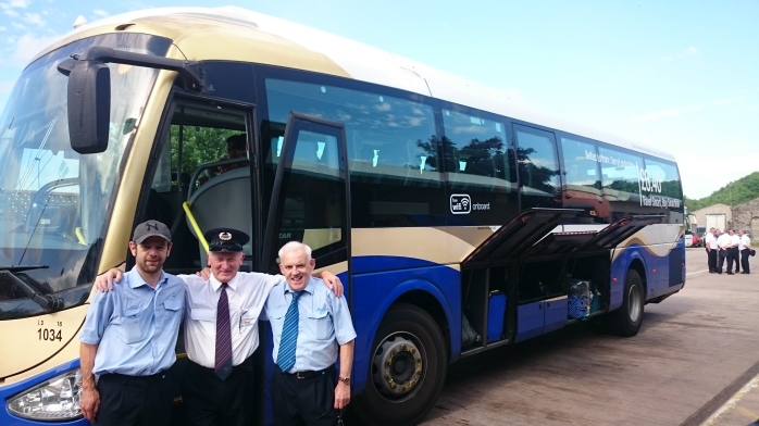 Ulsterbus/Translink drivers from Armagh and Derry wish Paddy Gollogly all the best on his retirement Photo:  © Michael Fisher