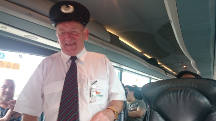 Paddy Gollogly expresses his thanks to the passengers on the Letterkenny express, who gave him a round of applause Photo:  © Michael Fisher