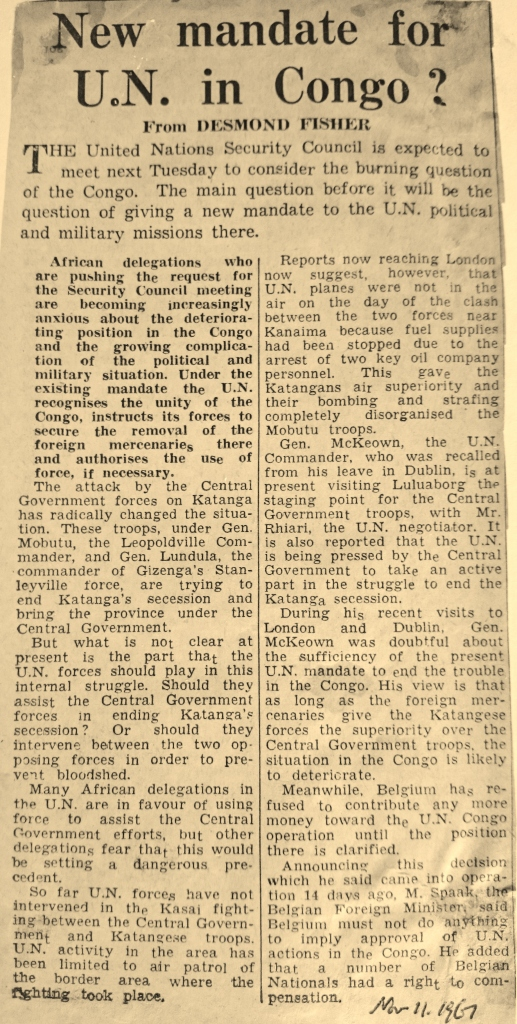 Desmond Fisher report from London in The Irish Press November 11th 1961