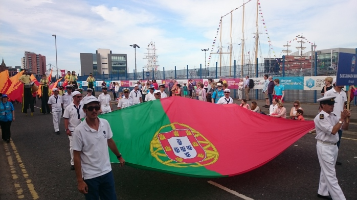 Portugese sailors from Santa Maria Manuela in the parade of Crews  Photo:  © Michael Fisher