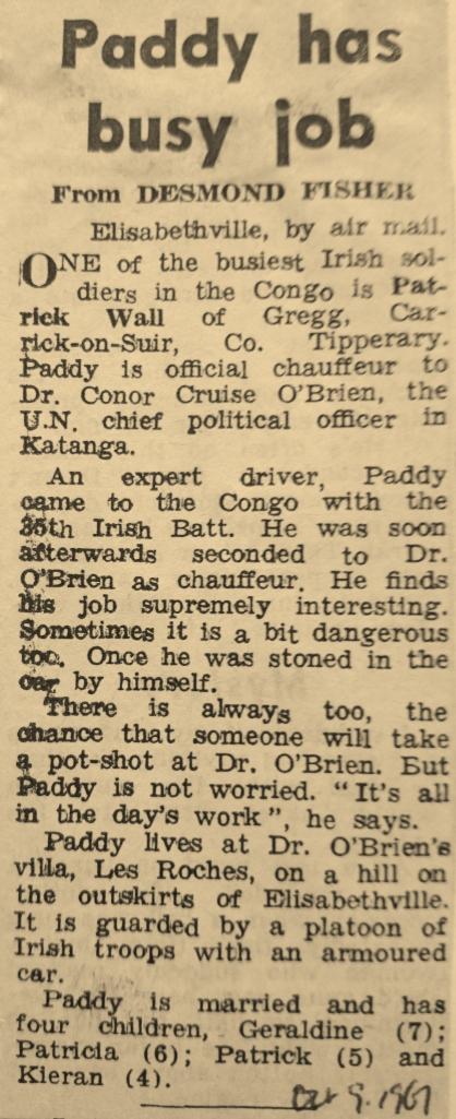 Desmond Fisher report in The Irish Press October 9th 1961
