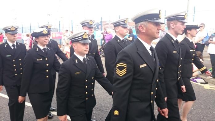 Crew from yacht LE Creidne parade through Belfast  Photo:  © Michael Fisher